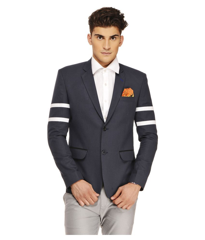 Ennoble Navy Solid Casual Tuxedo