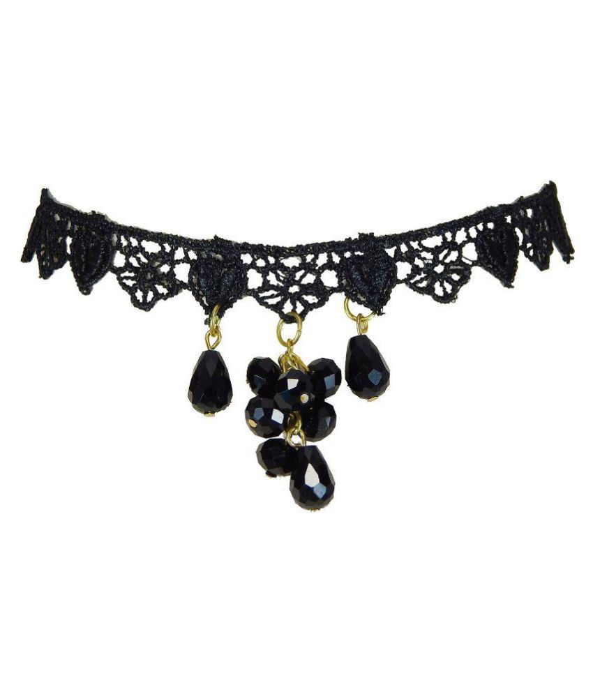 Freshvibes Traditional Black Choker Necklace with Beads – Choker