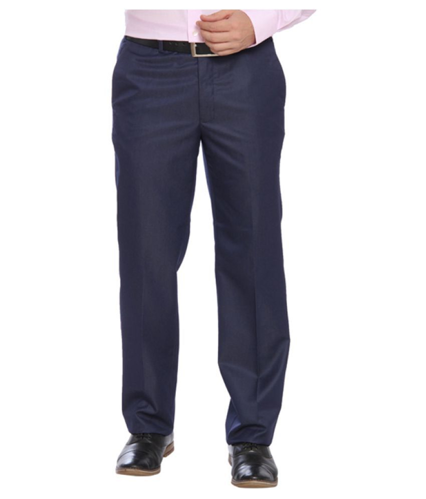 Raymond Blue Regular Flat Trouser