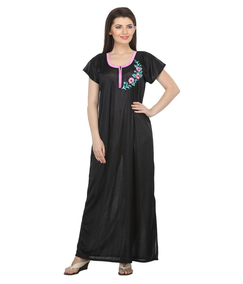 Belle Nuits Black Satin Nighty & Night Gowns