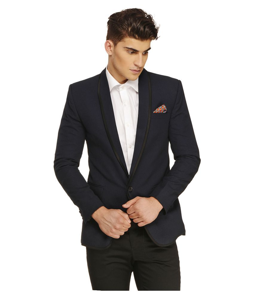 Ennoble Navy Solid Casual Tuxedo