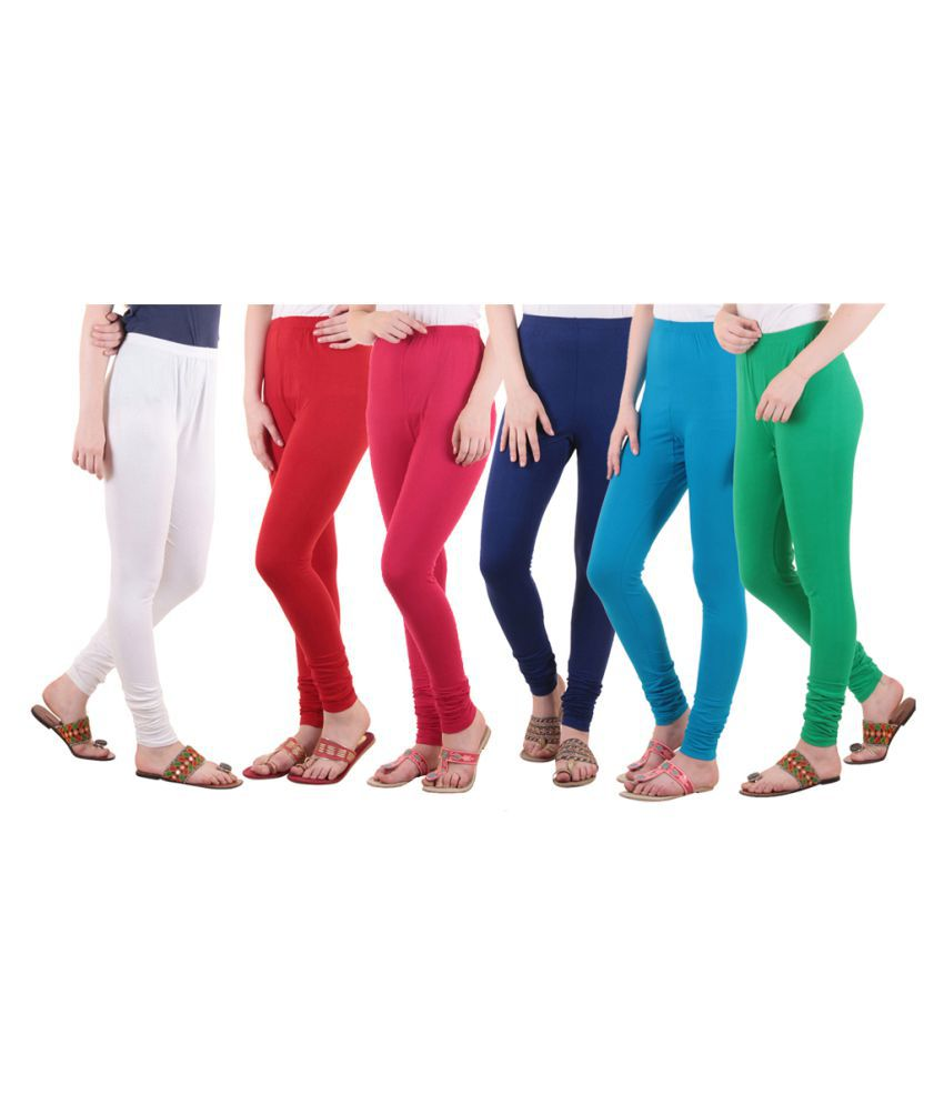 Diaz Cotton Lycra Pack of 6 Leggings