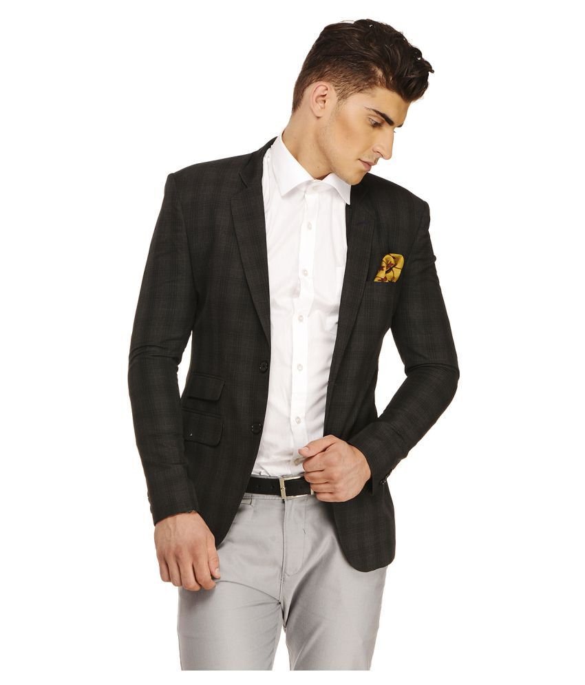 Ennoble Black Checks Casual 2 Piece Suits