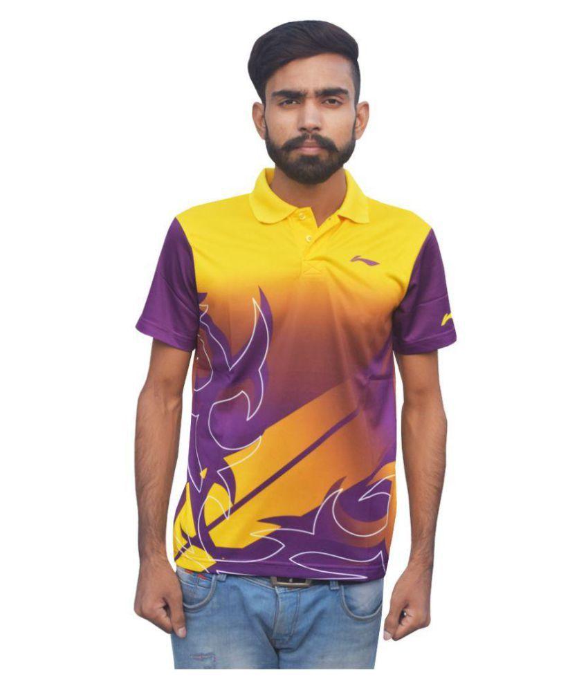 Li-Ning APLK163-1 Yellow/Purple Match Collar Half Sleeve T-shirt