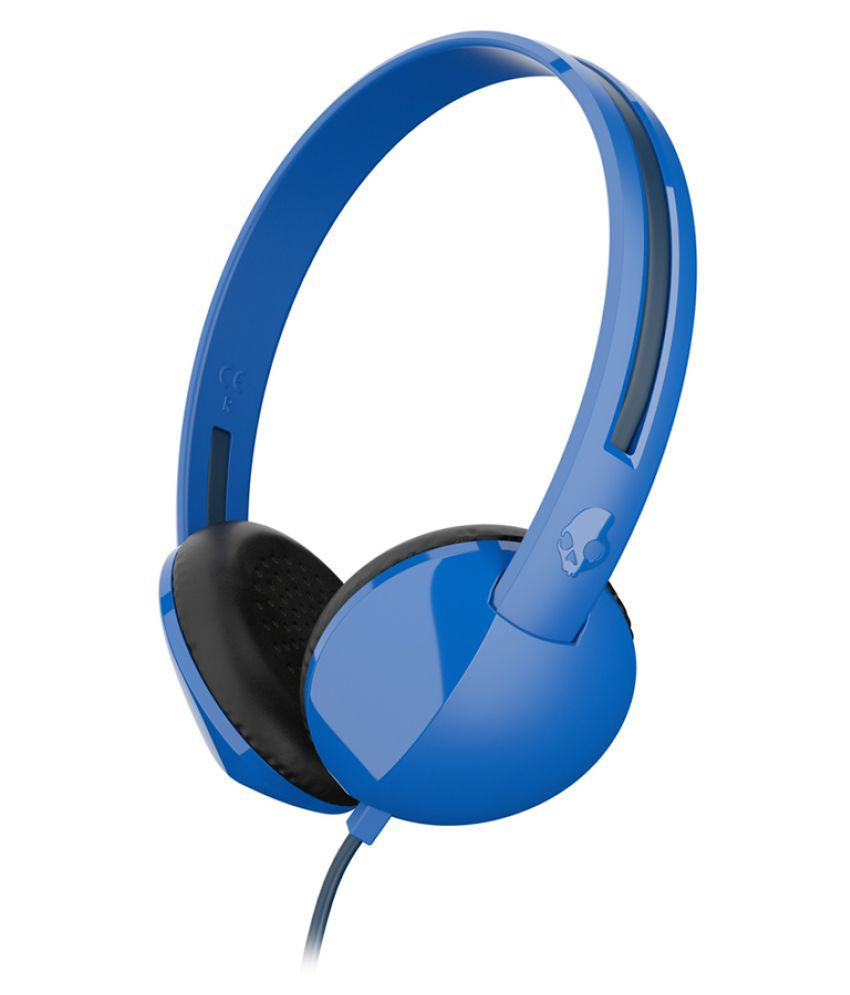 skullcandy slhz j on ear wired headphones out mic blue