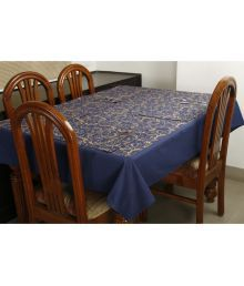 Dekor World 4 Seater Cotton Set Of 5 Table Cover & Table Mats - 670334975139