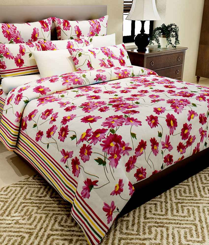 Bed sheets with price - Home Candy Pink Floral Cotton Double Bed Sheet With 2 Pillow Covers