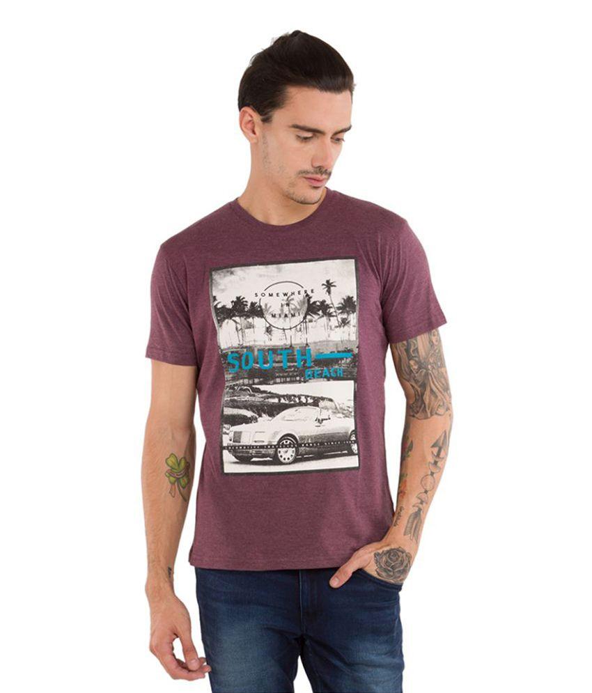 Locomotive Maroon Round T-Shirt