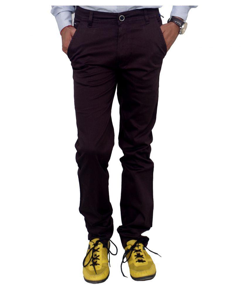 Blue Teazzers Brown Skinny Flat Trouser