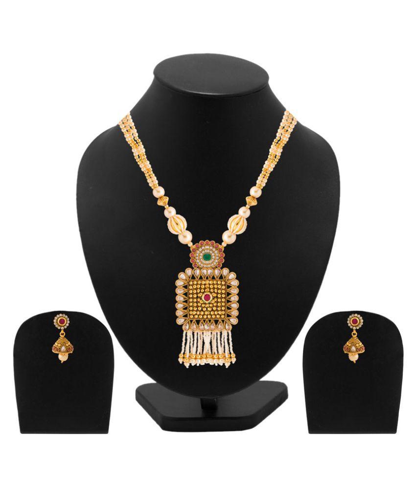 Voylla Traditional Multicolor Alloy Necklace Set