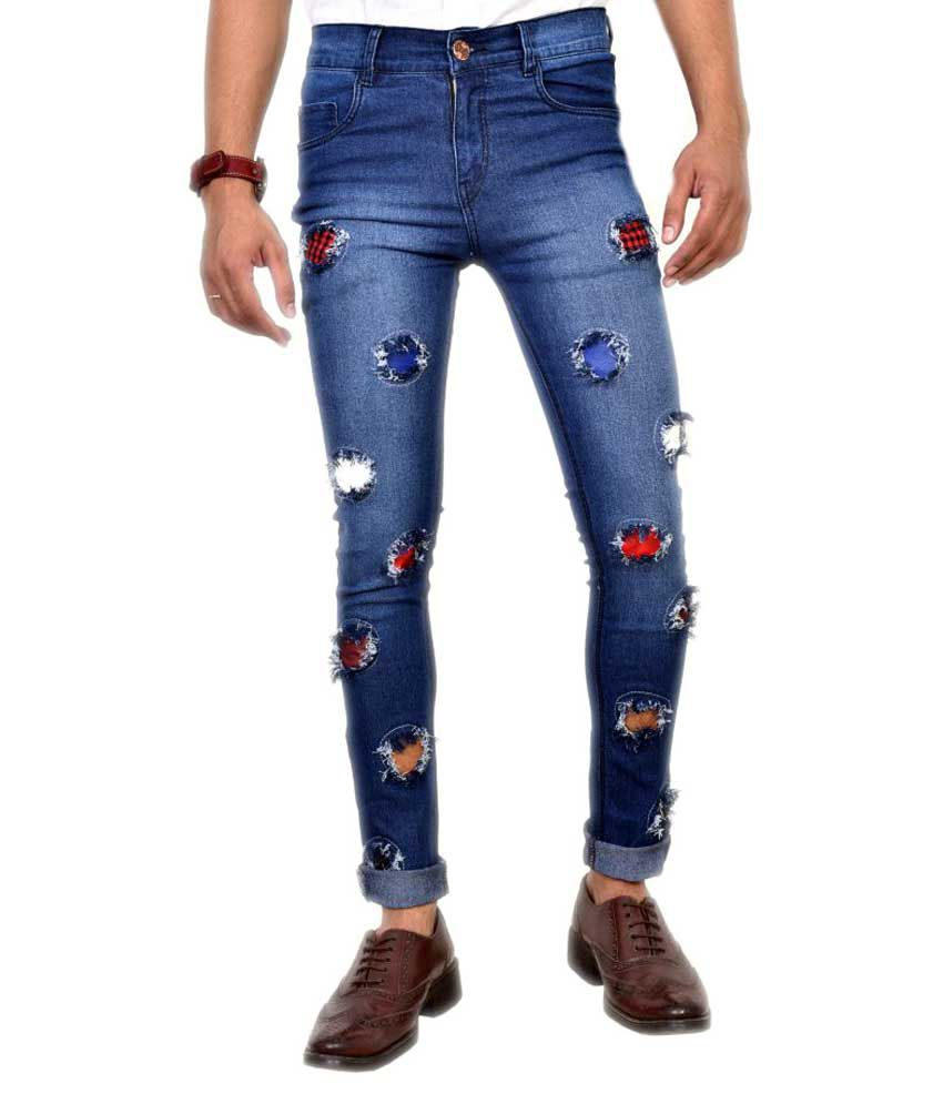 Anbow Blue Skinny Distressed