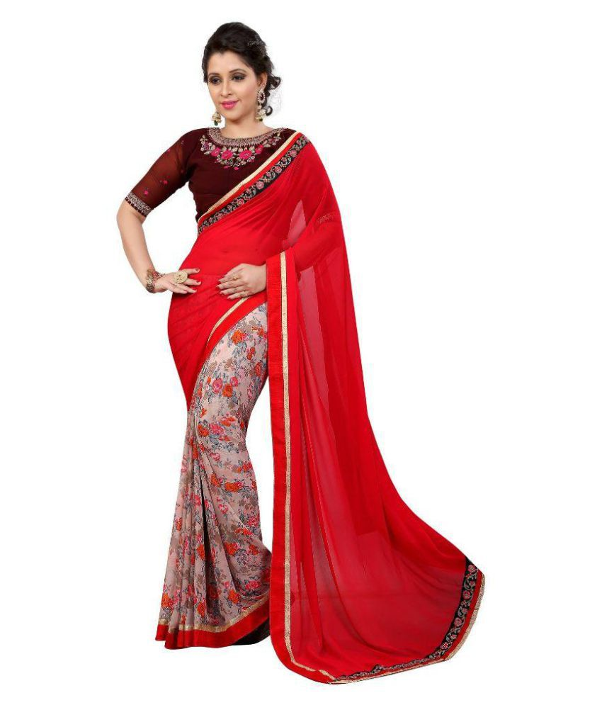 Bombey Velvat Fab Red Georgette Saree