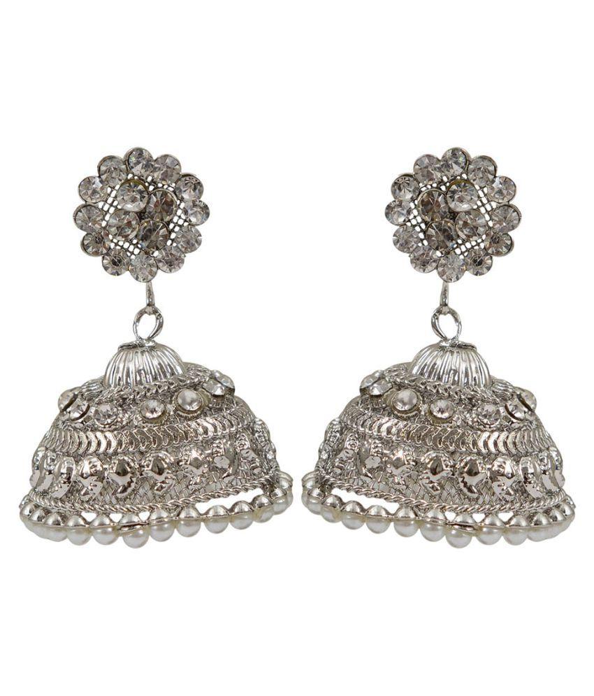 Taj Pearl Silver Jhumkies
