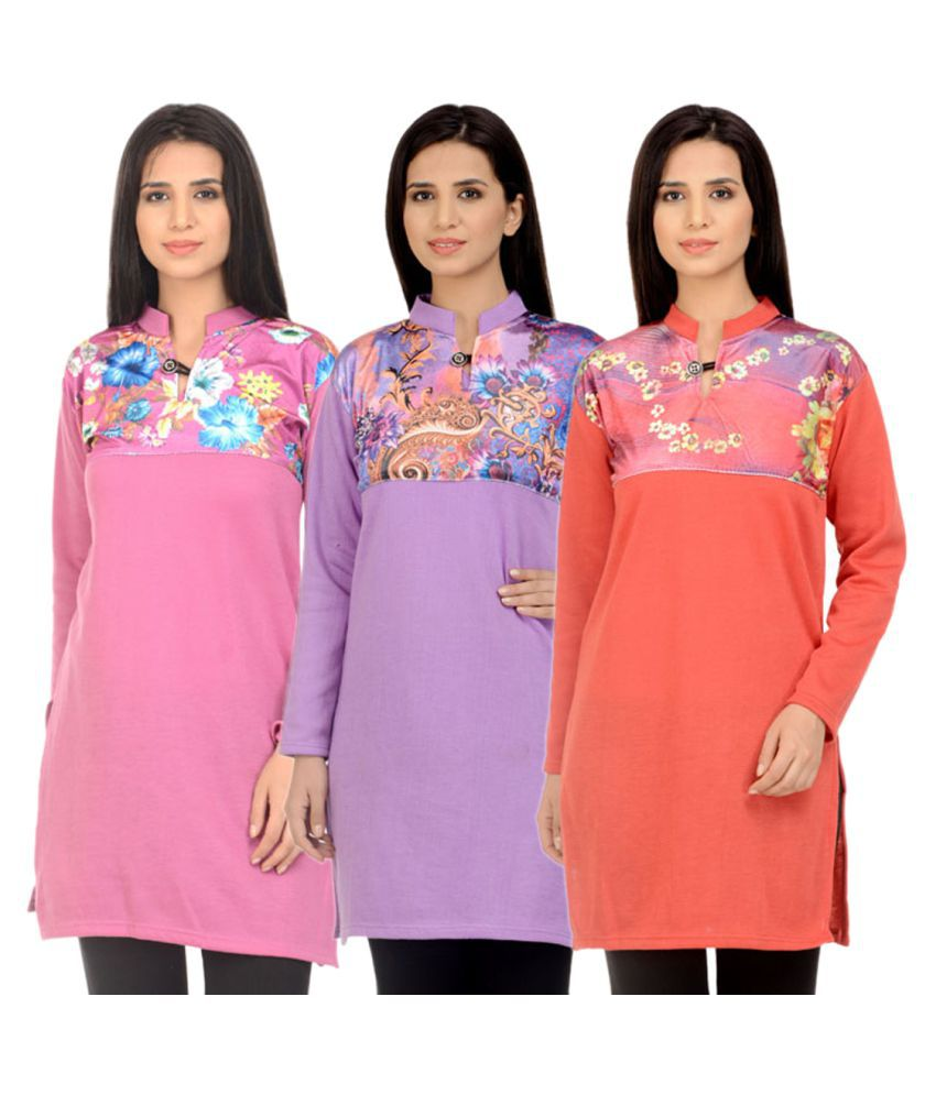 Hardy's Collection Multicoloured Woollen Straight Kurti