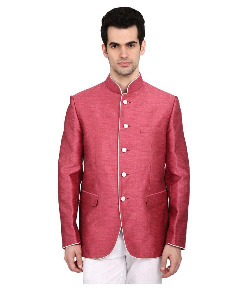 Indian Attire Pink Solid festive Tuxedo