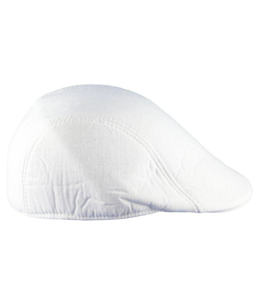 Air Fashion White Plain Cotton Caps