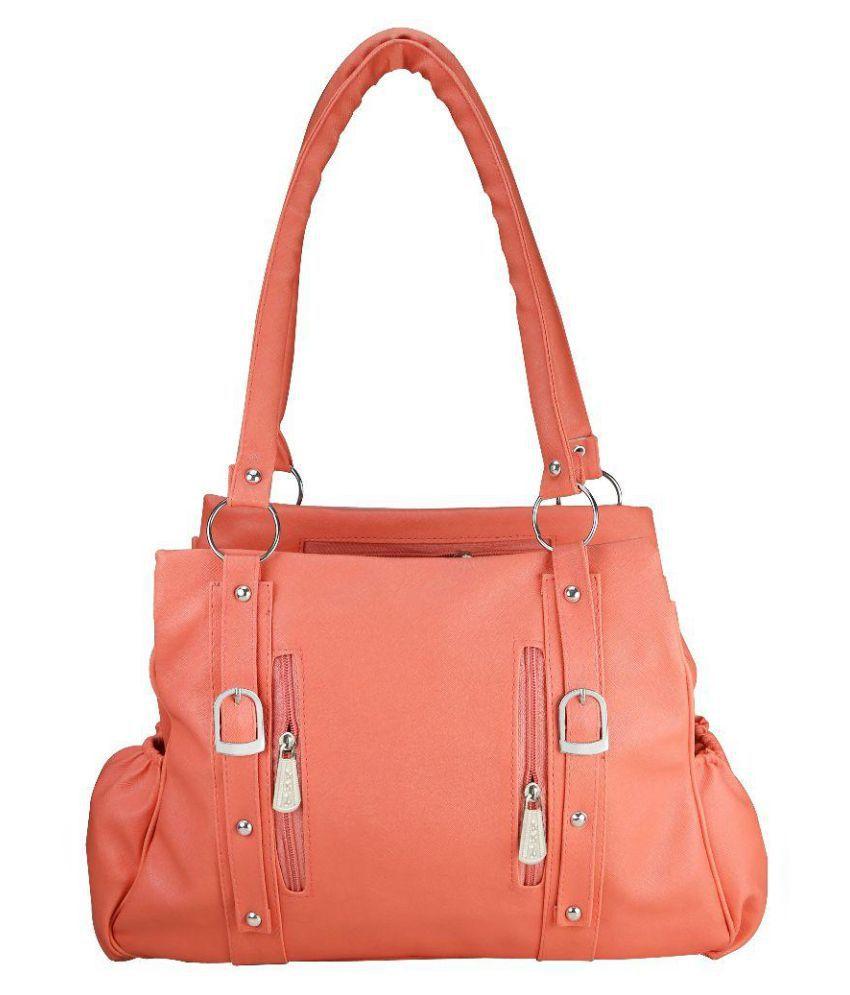 Klazo Orange Faux Leather Shoulder Bag