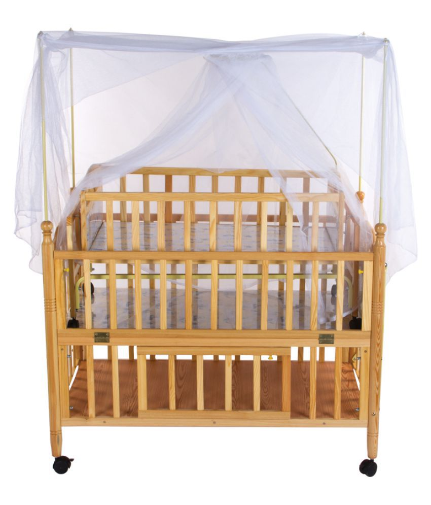 Mee Mee Wooden Brown Cot with Swing & Mosquito Net
