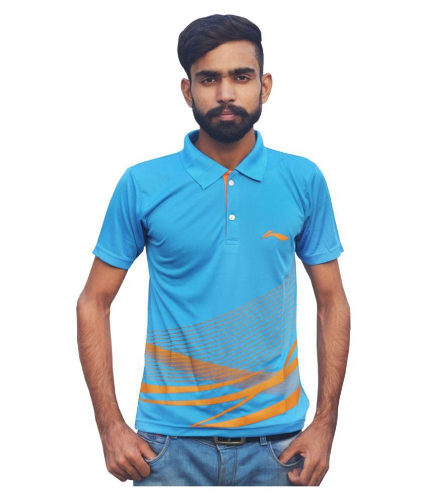 Li-Ning APLK397-4 Blue Plain Collar T-Shirt