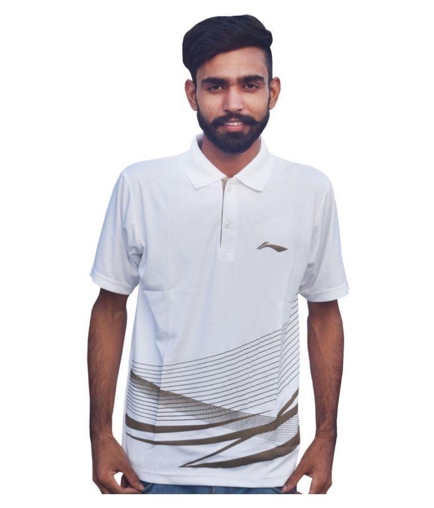Li-Ning White Polyester Polo T-shirt Single Pack