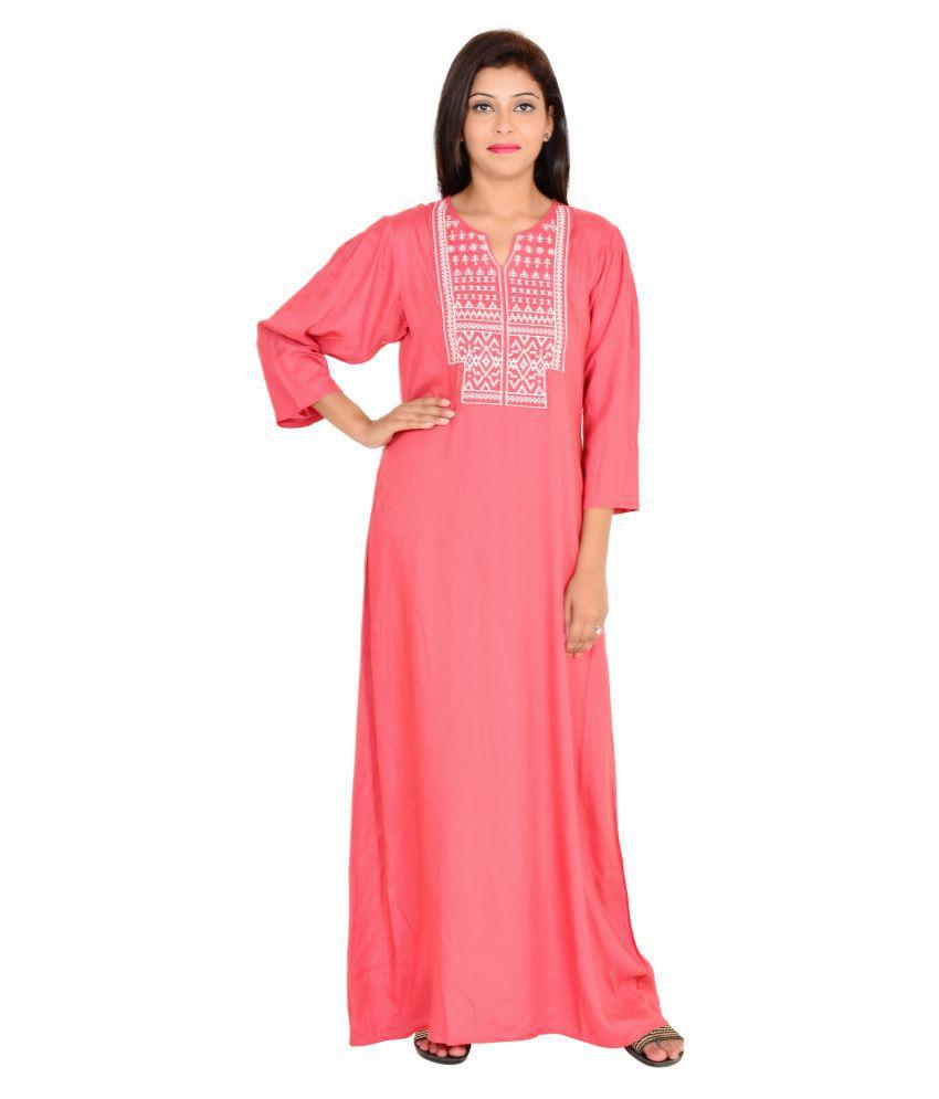 Buy 9teenAgain Pink Cotton Nighty & Night Gowns Online at Best ...