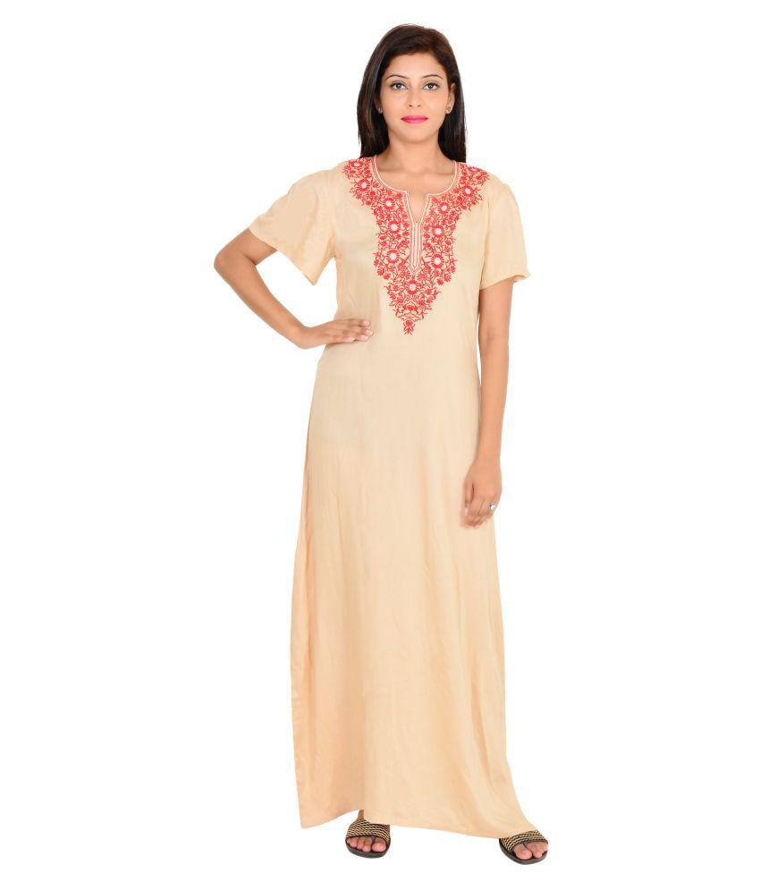 Buy 9teenagain Beige Cotton Nighty & Night Gowns Online at Best ...