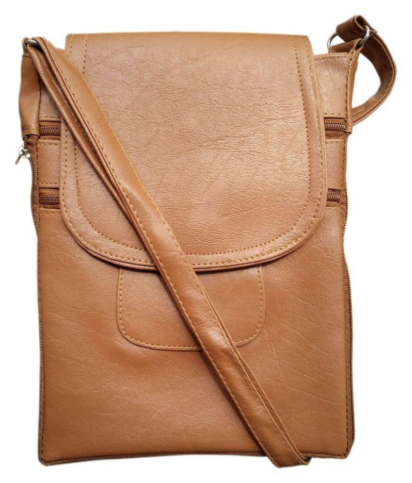 Madash Brown Artificial Leather Sling Bag