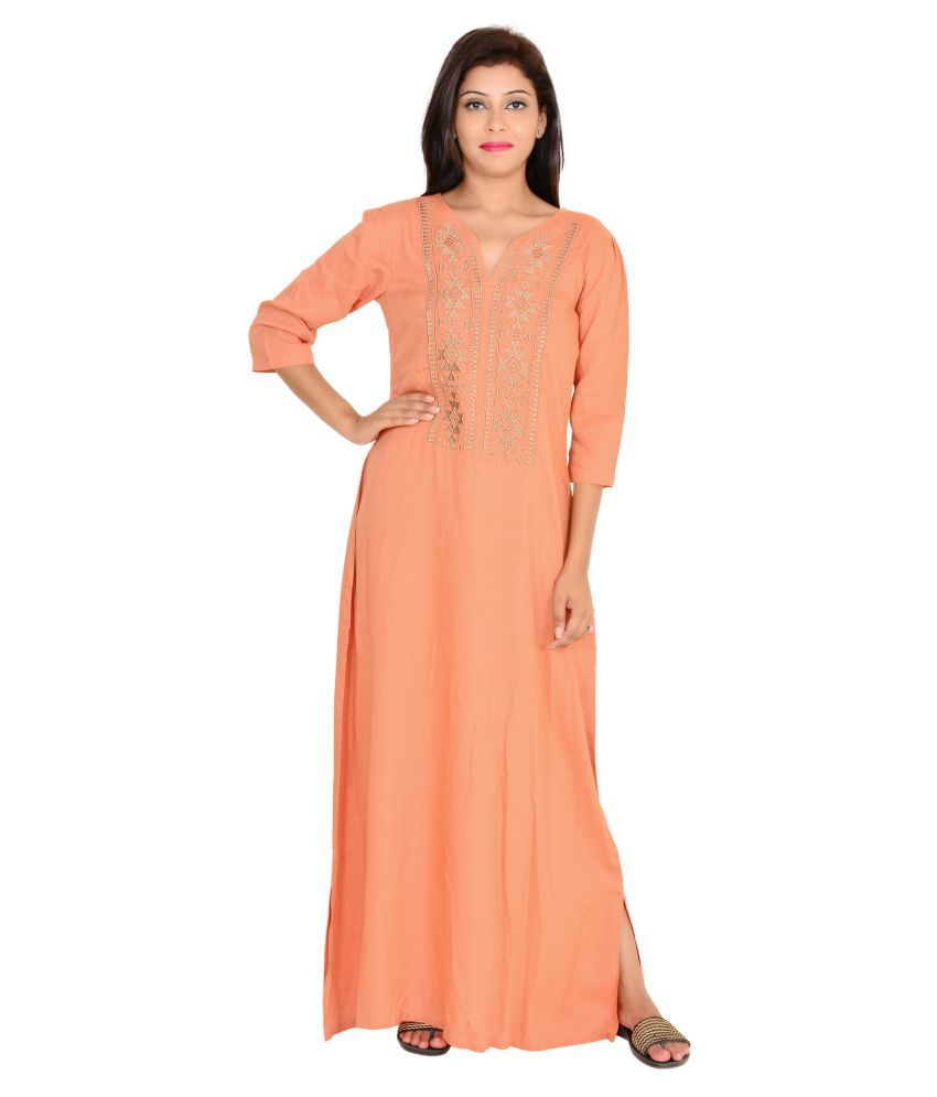 Buy 9teenagain Peach Cotton Nighty & Night Gowns Online at Best ...