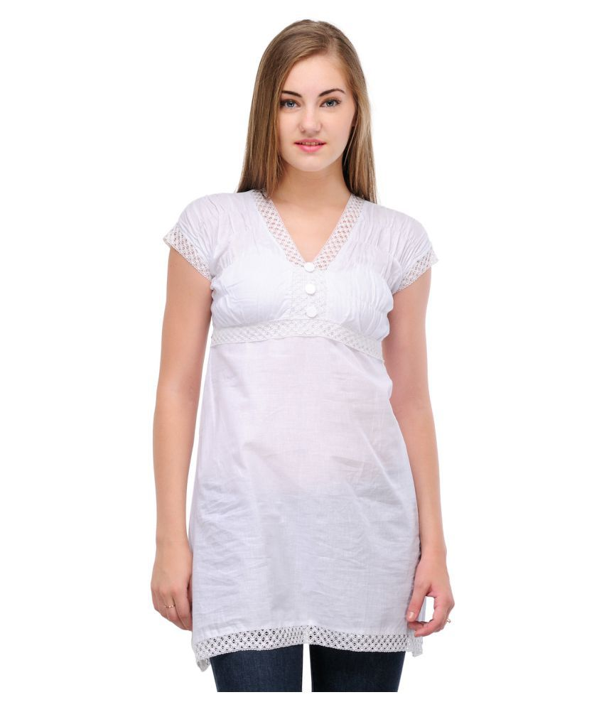 B & G Fashion White Cotton Straight Kurti