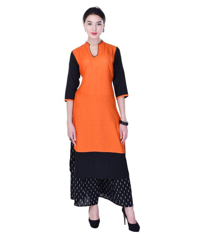 Heritage Jaipur Orange Rayon Straight Stitched Suit