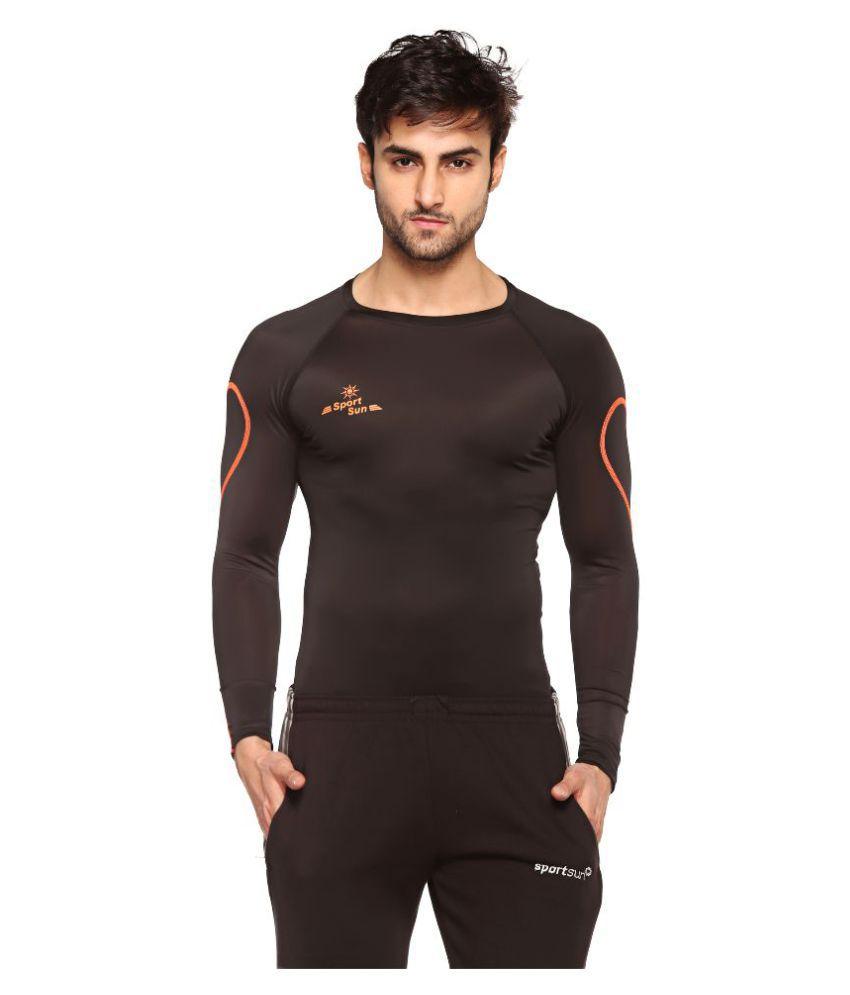 Sport Sun Black Polyester Sports Inner