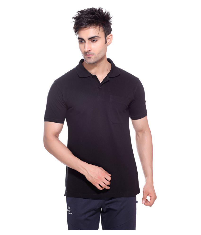 Sport Sun Black Polyster Polo T-Shirt