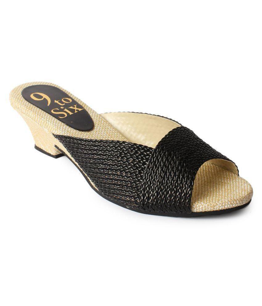 2e47988e2601 Star Style Black Block Heels Price in India- Buy Star Style Black Block  Heels Online at Snapdeal