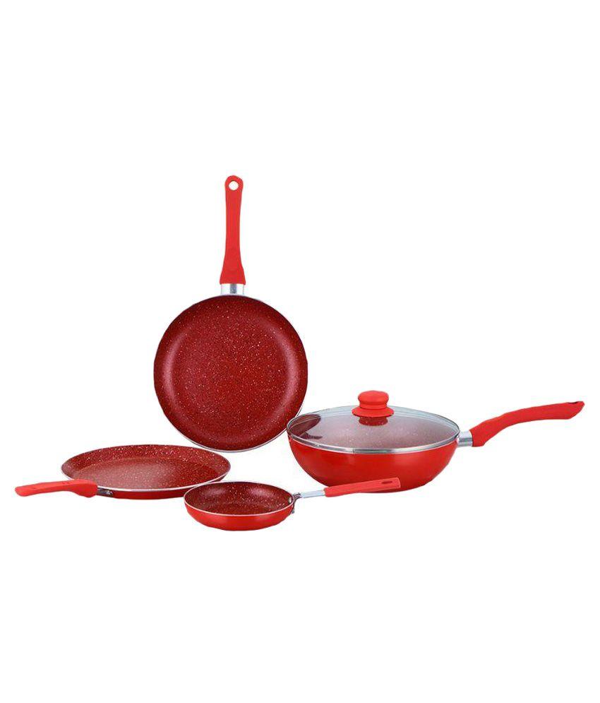 Wonderchef Royal Velvet Red Induction Base Cookware Set   4 Pieces