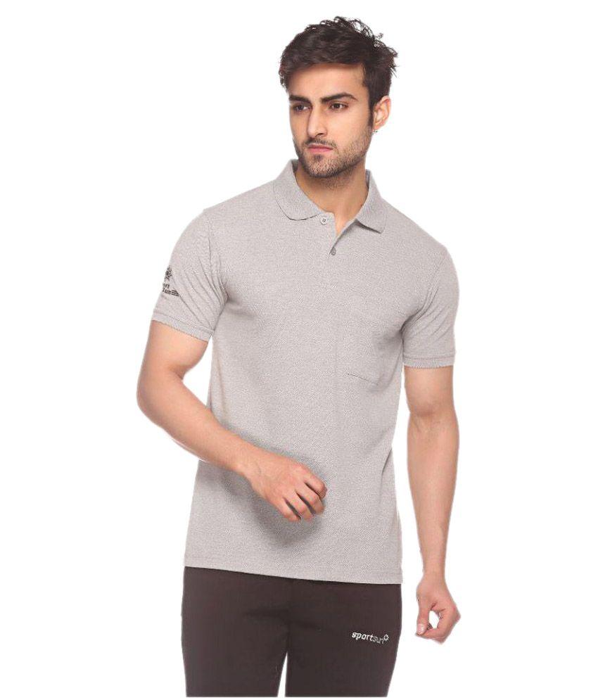 Sport Sun Sportswear Light Grey Mattey Cotton Polo Tshirt