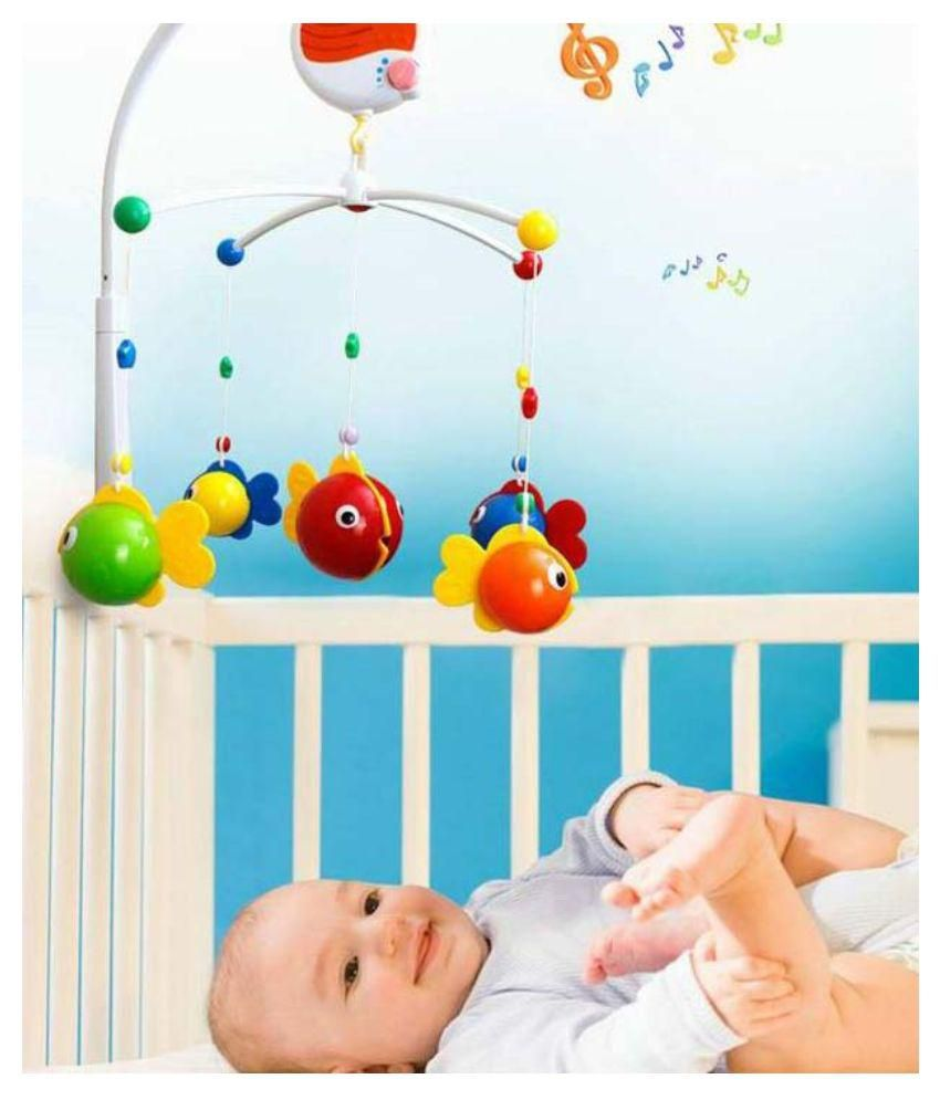 goappugo multicolour crib cot baby musical mobile hanging rattle  - goappugo multicolour crib cot baby musical mobile hanging rattle toy forbed