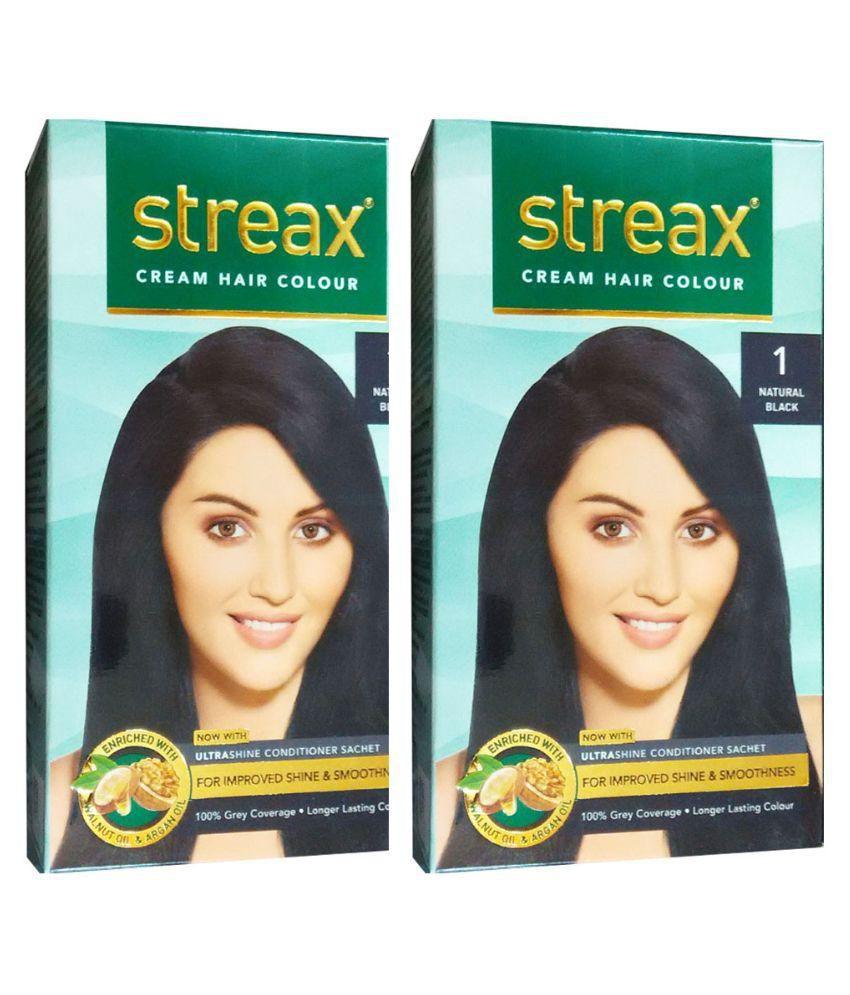 Streax Cream Natural Black 1 Permanent Hair Color Black 120 Ml Pack