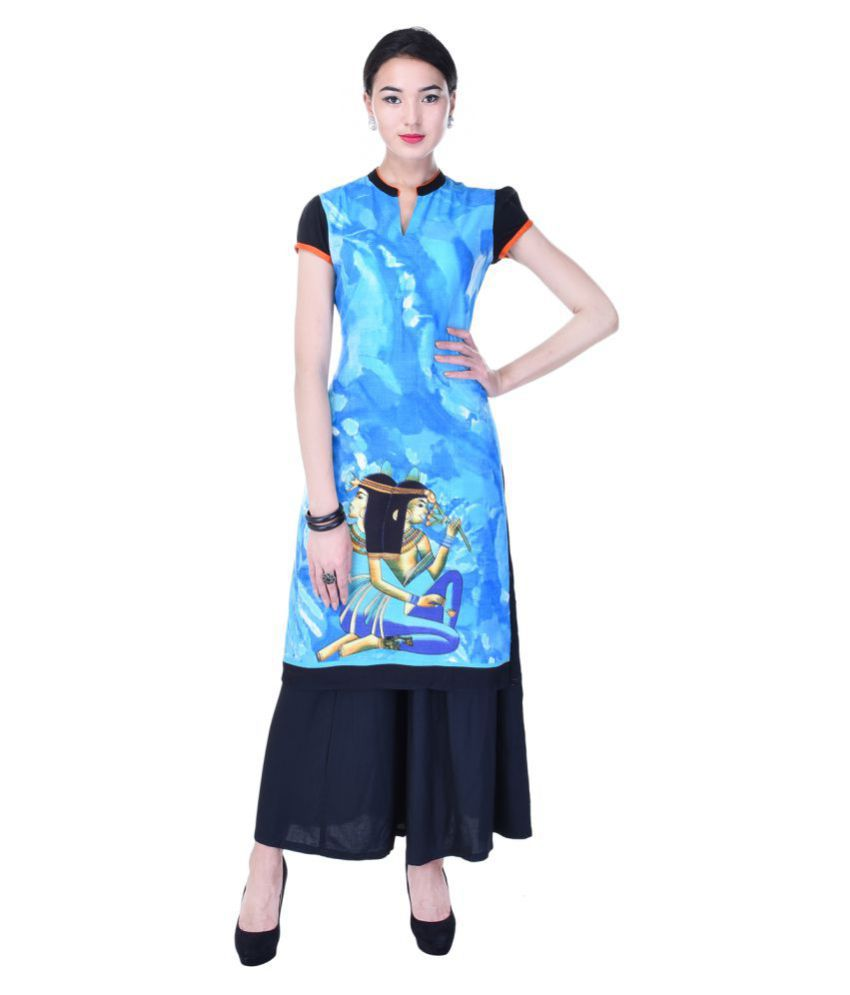 Heritage Jaipur Blue Rayon Straight Stitched Suit