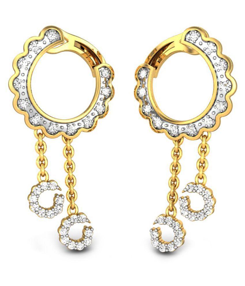 Candere 14k BIS Hallmarked Yellow Gold Diamond Balis