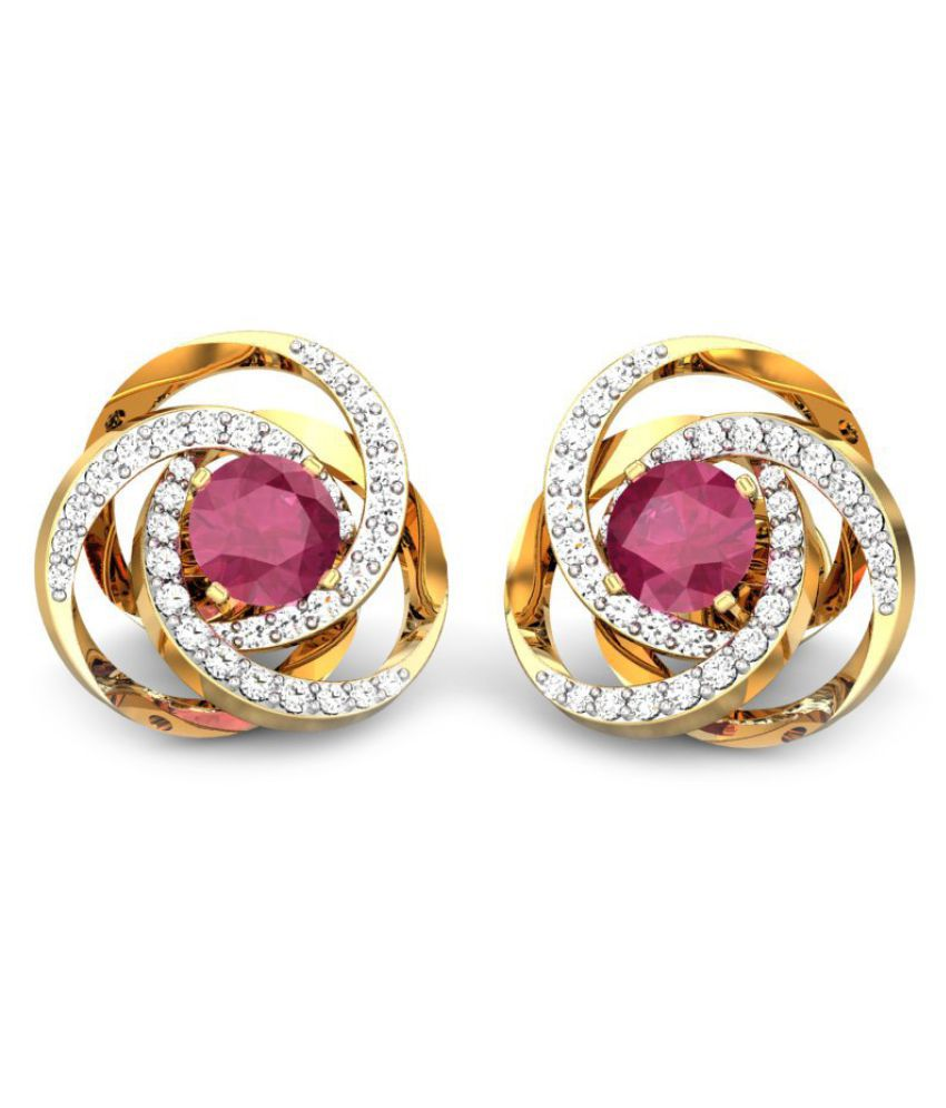 Candere 14k BIS Hallmarked Yellow Gold Spinel Studs
