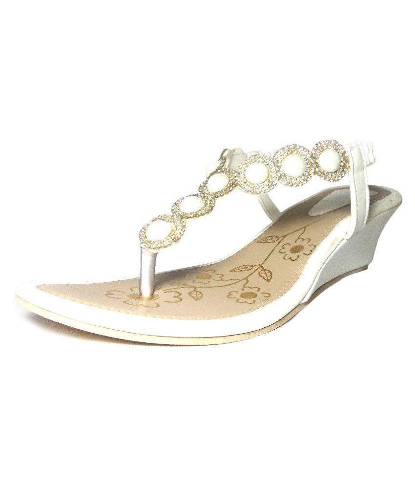Artera White Wedges Heels