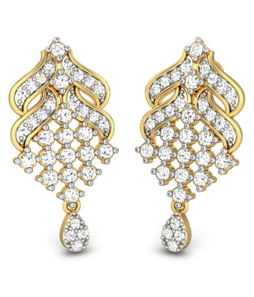 Candere 14k BIS Hallmarked Yellow Gold Diamond Drop Earrings