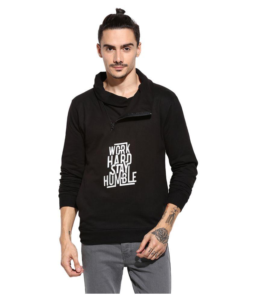 Campus Sutra Black High Neck Sweatshirt