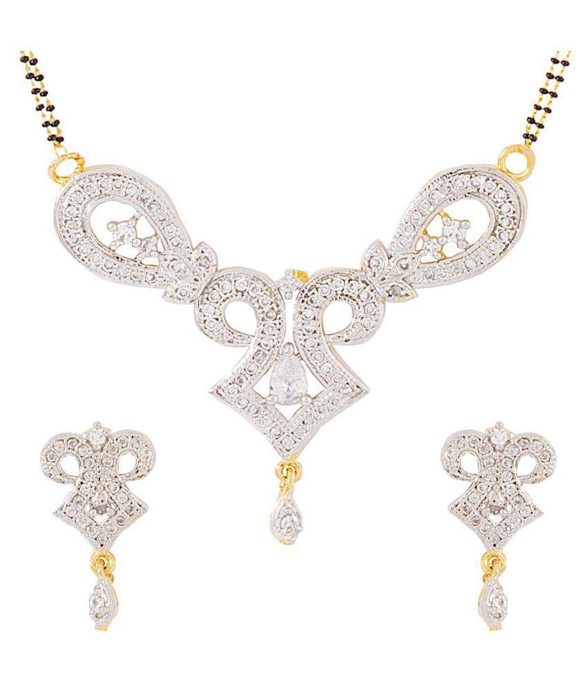 Aditri Cz American Diamond Mangalsutra Earring Set