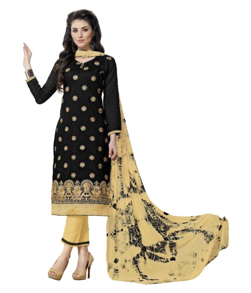 Maroosh Beige and Black Cotton Blend Straight Semi-Stitched Suit