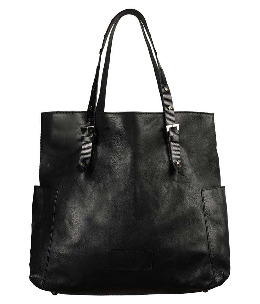 Morsei Black Pure Leather Shoulder Bag