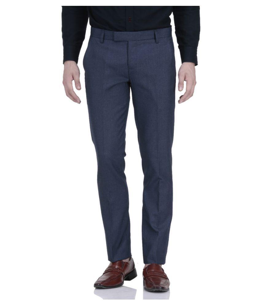 Le Meiux Blue Regular Flat Trouser