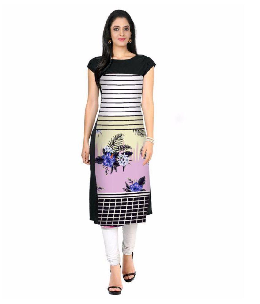Royal Fashion Multicoloured Crepe Straight Kurti