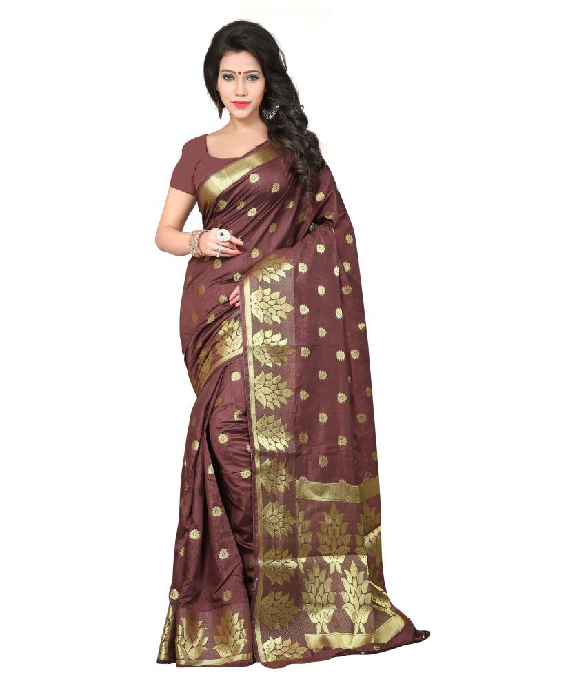 Ganga Shree Maroon Cotton Silk Saree