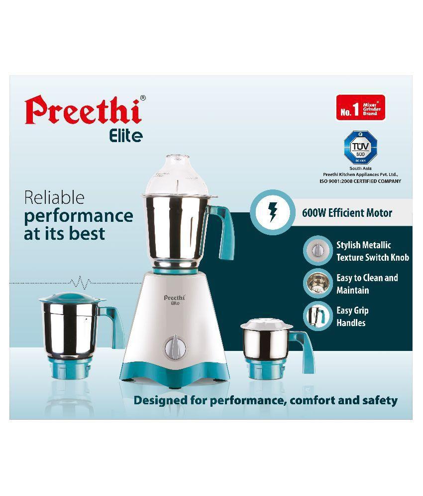 Preethi Elite Mg 213 600 Watt Mixer Grinder